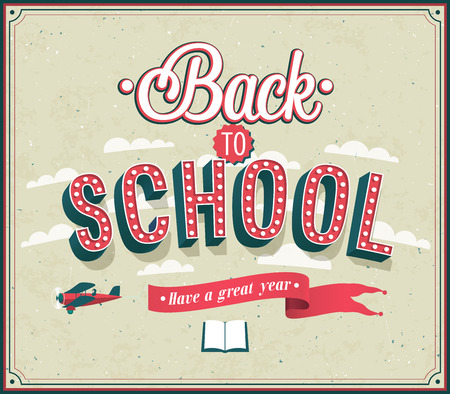 postcard back: Back to school typographic design. Vector illustration.