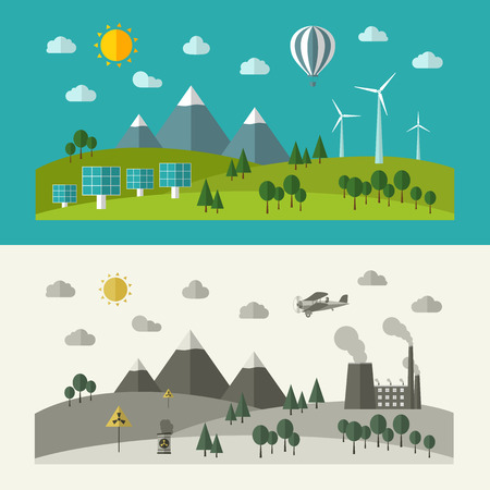 Flat design concepts for ecology. Vector illustration.
