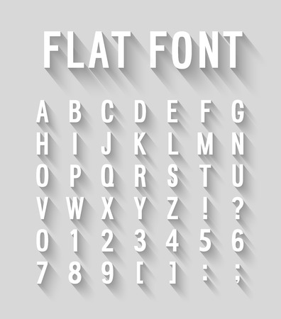 Flat font with long shadow effect. Vector illustration. Иллюстрация