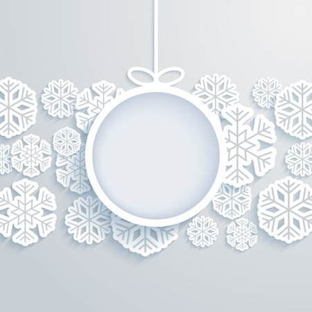 Christmas paper card with hanging toy and snowflakes. Vector illustration.