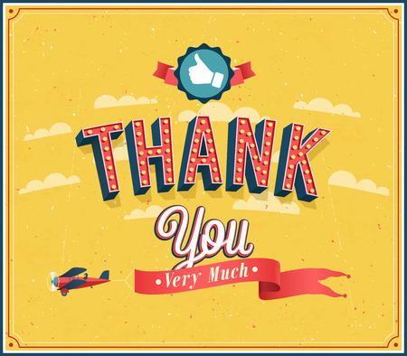 merci: Merci beaucoup embl�me vintage. Vector illustration.