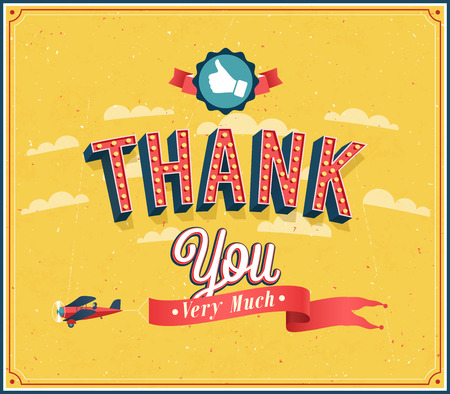 congratulations card: Thank you very much vintage emblem. Vector illustration. Illustration