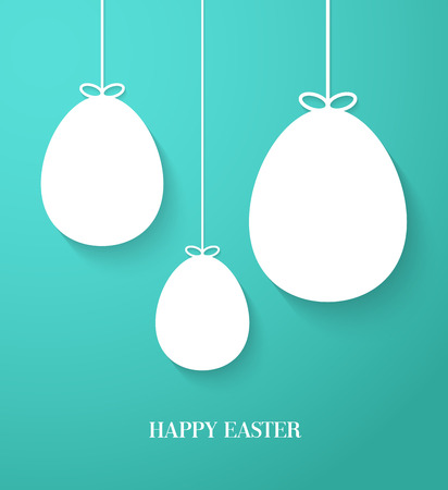 Easter greeting card with hanging paper eggs. Vector illustration. Vector