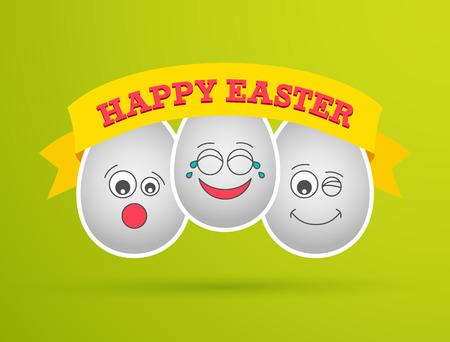 Funny Easter eggs. Vector illustration. Vector