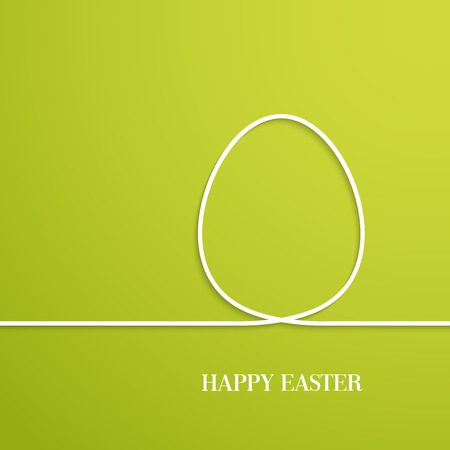 egg shape: Happy Easter card with paper egg. Vector illustration.