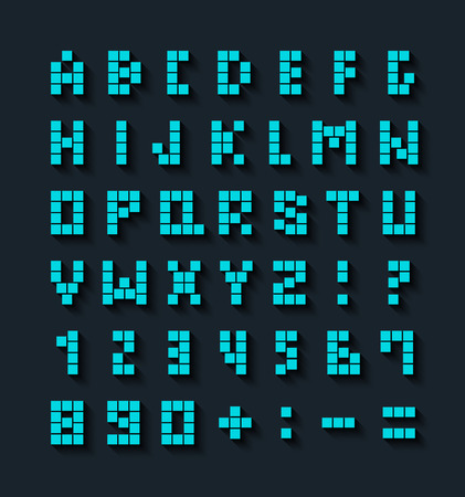 alphabets: Flat pixel font with shadow effect. Vector illustration. Illustration