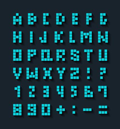 abecedario: Fuente pixel plano con efecto de sombra. Ilustraci�n del vector.