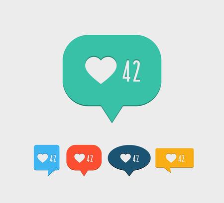 notification: Like notification social media icon. Vector illustration. Illustration