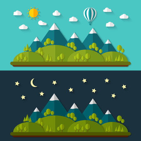 greenpeace: Flat nature landscape. Vector illustration. Illustration