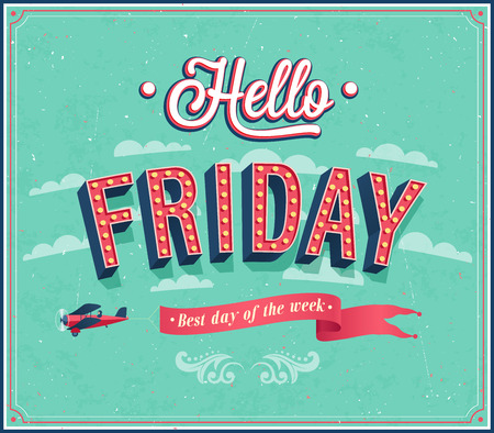 Hello Friday typographic design. Vector illustration.