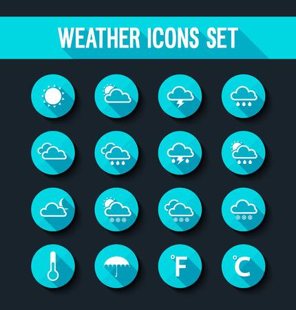 meteo: icone meteo piane impostate. Illustrazione vettoriale. Vettoriali