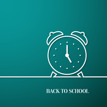 postcard back: Back to school card with paper alarm clock. Vector illustration.