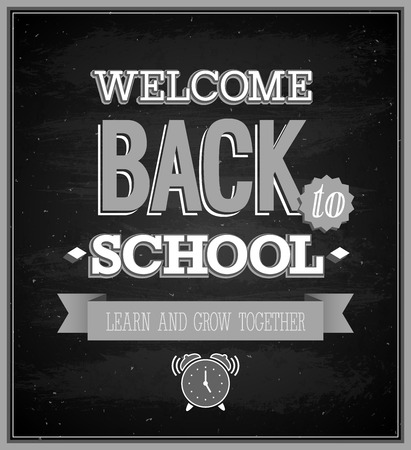 chalk board: Back To School typographic design illustration.