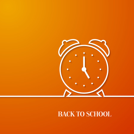 paper art: Back to school card with paper alarm clock. Vector illustration.