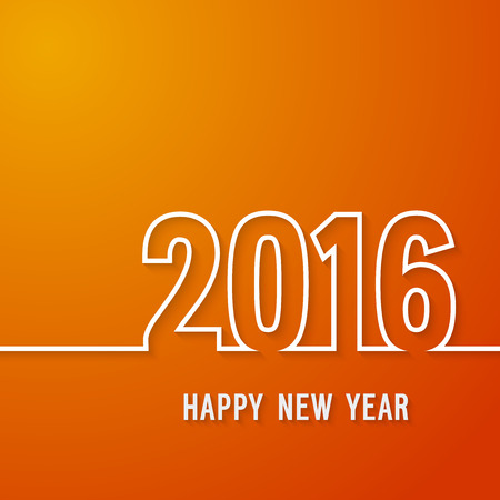 banner sign label background: Happy new year 2016 paper postcard. Vector illustration.