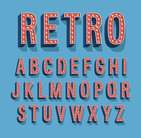 Retro font with light bulbs.  Иллюстрация