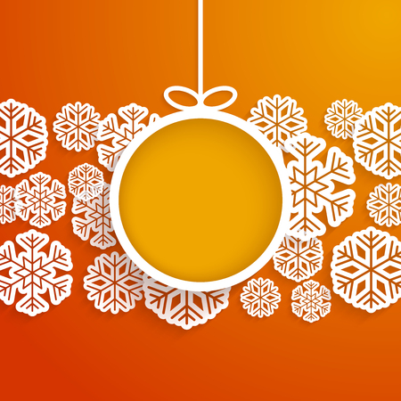 snowflakes: Christmas paper card with hanging toy and snowflakes. Vector illustration.