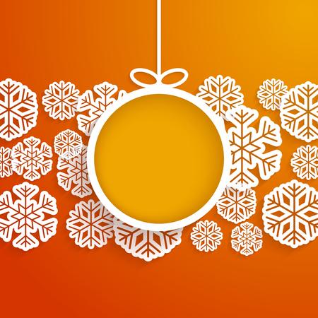 schneeflocke: Weihnachtspapierkarte mit h�ngenden Spielzeug und Schneeflocken. Vektor-Illustration.
