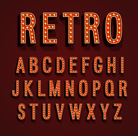 Retro font with light bulbs. Vector illustration.