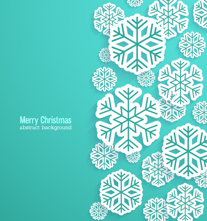 happy holidays text: Christmas background with paper snowflakes. Vector illustration. Illustration