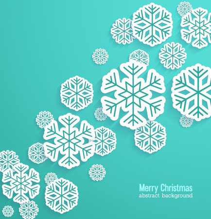 Christmas background with paper snowflakes. Vector illustration. Ilustração
