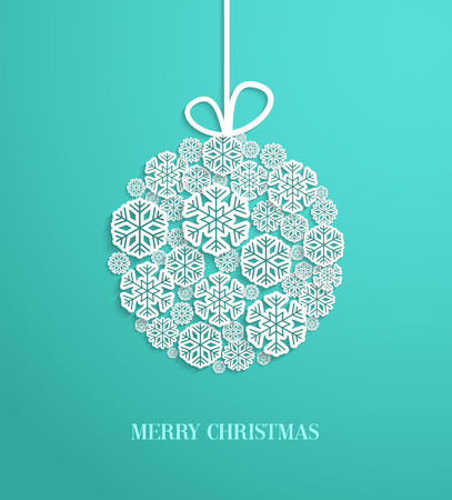 hanging toy: Christmas card with hanging toy made of paper snowflakes. Vector illustration. Illustration