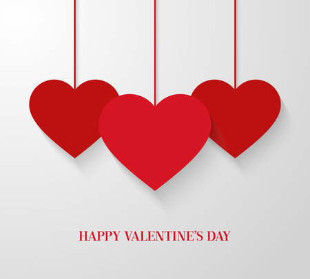 hangings: Valentines day card with hanging hearts. Vector illustration.