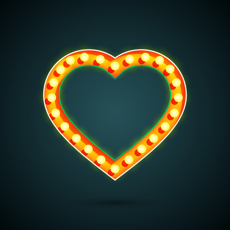 day light: Valentines day heart with light bulbs Illustration