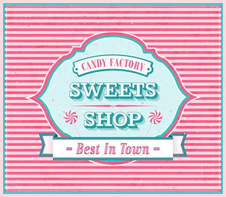 Vintage Sweets Shop Poster. illustration.