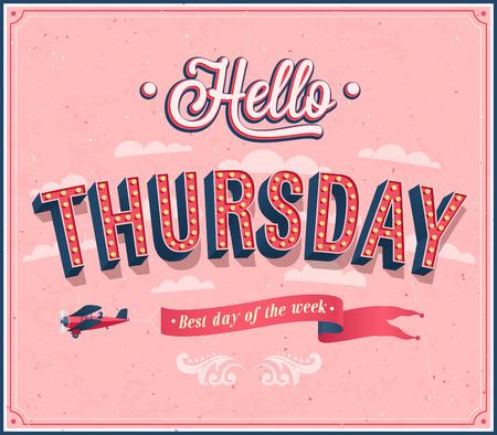 Hello Thursday typographic design. illustration.