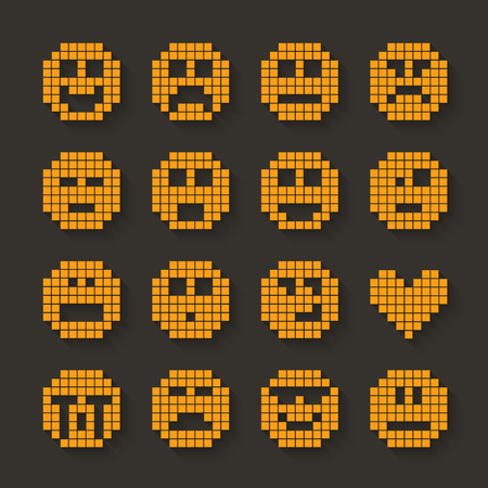 shadow effect: Flat pixel smile icons set with shadow effect. illustration.