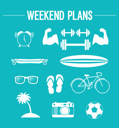 weekend: Weekend plans. Vector illustration.