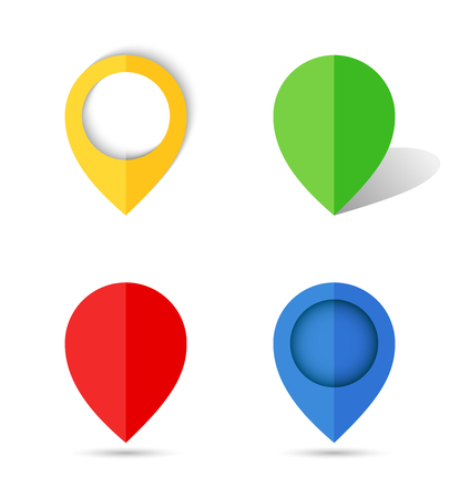 map pin: Flat paper map pin. illustration. Illustration