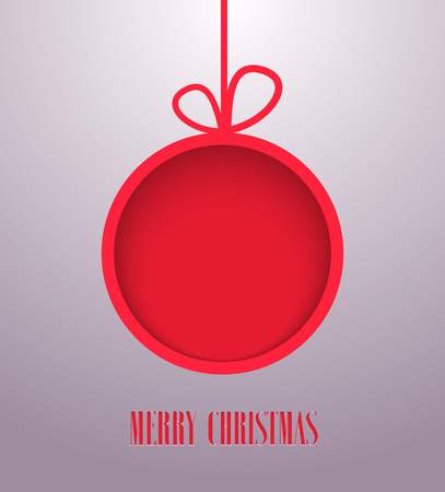 hanging toy: Christmas paper card with hanging toy. Vector illustration.