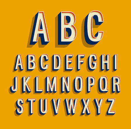 Retro alphabet.  illustration.