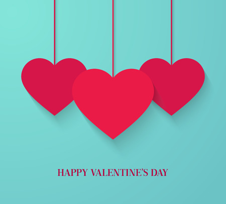 Tarjetas de San Valentín con corazones colgantes. Ilustración del vector.
