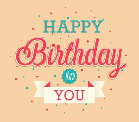birthday party: Happy Birthday greeting card. Vector illustration. Illustration
