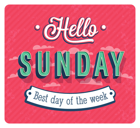 Hello Sunday typographic design vector illustration. Stok Fotoğraf - 88244020