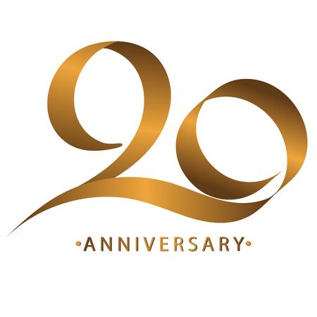 Celebración de caligrafía, aniversario del aniversario número 20º, tono dorado de lujo marrón dorado para invitar a la tarjeta, telón de fondo, etiqueta o papelería