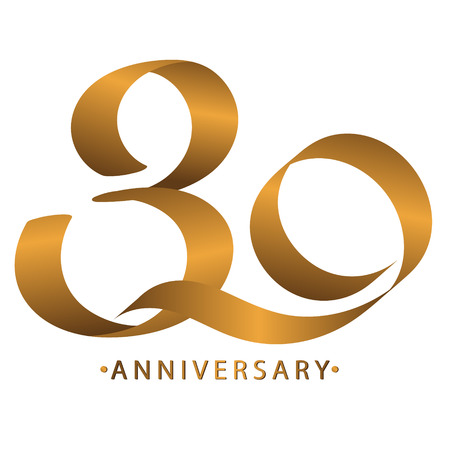 Handwriting celebrating, anniversary of number 30 th year anniversary, Luxury duo tone gold brown for invittion card, backdrop, label or stationary