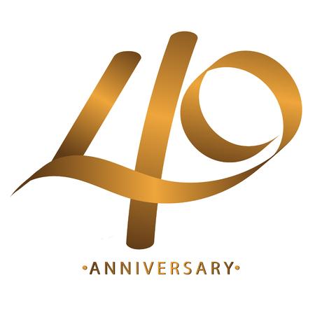 Handschrift vieren, jubileumnummer 40e jarig jubileum, Luxe duotint goudbruin voor invitatiekaart, achtergrond, label of stationair