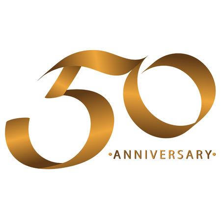 필기 축하, 50 주년 기념일 기념일, 초대 카드, 배경, 라벨 또는 고정을위한 럭셔리 듀오 톤 골드 브라운