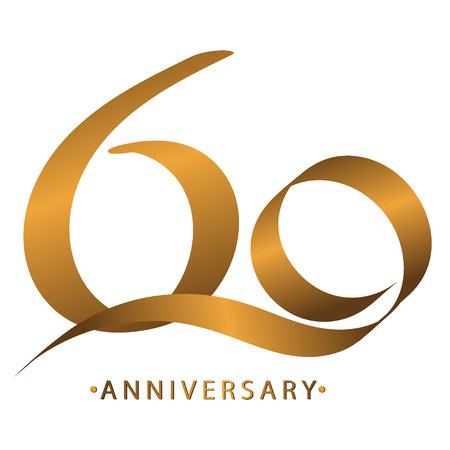 필기 축하, 60 주년 기념일 기념일, 초대 카드, 배경, 라벨 또는 고정을위한 럭셔리 듀오 톤 골드 브라운 일러스트