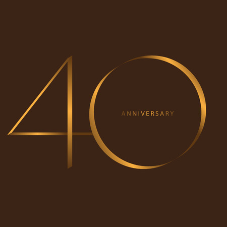 Handwriting celebrating, anniversary of number 40th year anniversary, Luxury duo tone gold brown for invitation card, birthday, backdrop, label or stationary Illustration