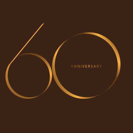 Handwriting celebrating, anniversary of number 60th year anniversary, Luxury duo tone gold brown for invitation card, birthday, backdrop, label or stationary