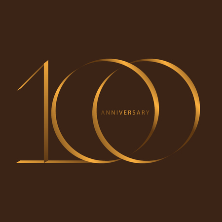 Handwriting celebrating, anniversary of number 100th year anniversary, Luxury duo tone gold brown for invitation card, birthday, backdrop, label or stationary