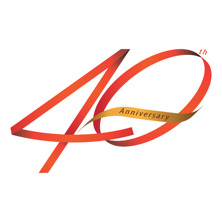Handwriting ribbon style celebrating, anniversary of number 40th year, Luxury duo tone red and gold.