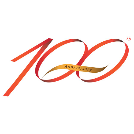 Handwriting ribbon style celebrating, anniversary of number 100th year, Luxury duo tone red and gold.