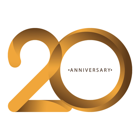 Celebrating, anniversary of number 20th year anniversary, birthday. Luxury duo tone gold brown for invitation card, backdrop, label, logo , advertising or stationary 向量圖像