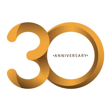 Celebrando, anniversario del numero 30 ° anniversario, compleanno. Duo di lusso tono oro marrone per carta di invito, sfondo, etichetta, logo, pubblicità o stazionario